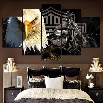 5 Panel HD Printed Eagles Motorcycle Painting Canvas Print Home Decor Wall Art Poster (No Frame)