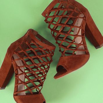 Shoe Republic LA Suede Knotted Caged Chunky Heel