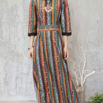 Streetstyle  Casual Boat Neck Side Slit Printed Vertical Striped Maxi Dress