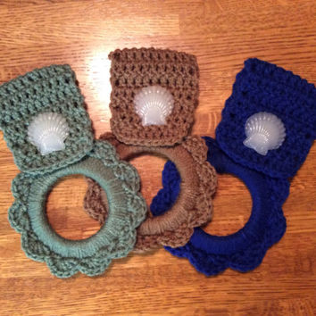 1- your choice of color, Kitchen towel hanger, shell, beach, crochet towel hanger, handmade, dish towel hanger, nautical, blue, green, tan,