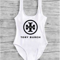 Tory Burch New Fashion Word Print Women Sexy One Piece Vest Type Bikini White(black print)