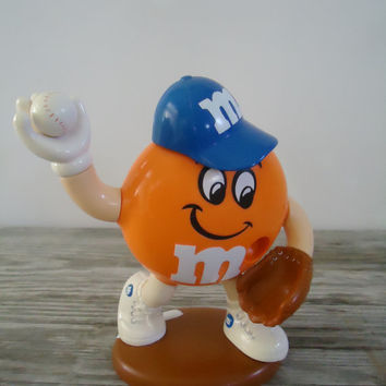 M&M Candy Dispenser Baseball Player Sports Limited Edition Orange and Blue