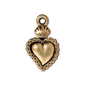 94-2322-26 - TierraCast Antique Gold Pewter Milagro Heart Charm, 13x22mm | Pkg 2