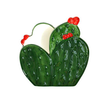 Vintage Cactus Napkin Holder Cactus Letter Holder Green Cactus Desk Accessory Cactus Decor Gibson Summer Fiesta Napkin Holder