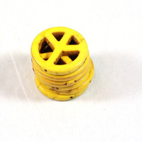 6 Large Yellow Howlite Peace Sign Beads 25mm diameter perfect for jewelry making or beading - Black Friday Sale 25 percent off