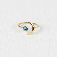 Crescent Moon And Turquoise Stone Ring