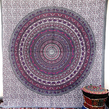 Hippy Throw Mandala Tapestry Indian Wall Hanging Bohemian Queen Bedsheet Sofa Bedspread Hippie Wall Art Beach Coverlet College Dorm Decor