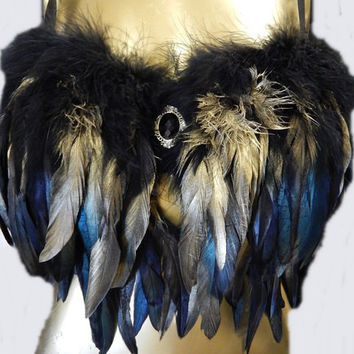Black Gold Feather Bra Custom Made 4U Samba Dance