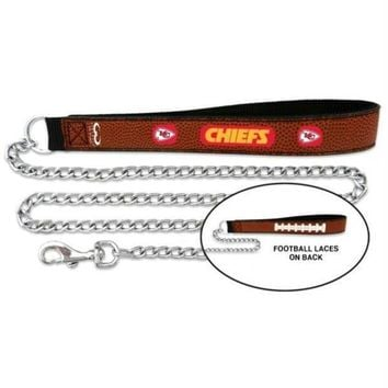 PEAPYW9 Kansas City Chiefs Football Leather and Chain Leash
