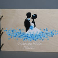 Wedding wooden guest book Hand painted Bridal shower engagement anniversary Book Groom and Bride with blue flowers