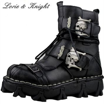 Mens Genuine Leather Skull Gothic Punk Rocker Boots Motorcycle Martin Boots