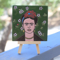 Frida Clay Painted Tile with Art Easel | Vogue Edition