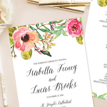 Isabella Printable Wedding Program/Paddle Fan (DIY Program), Watercolor Floral Program - Customizable text