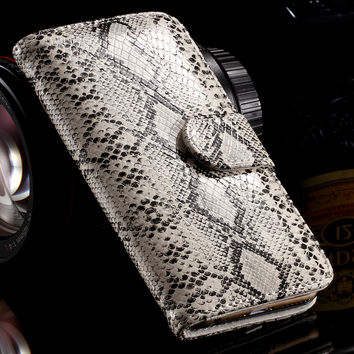 Hot Snake Skin Leather Case for iPhone 5 5S SE Luxury Stand Wallet Card Slot Photo Frame Cover Flip Bag for Apple iPhone 5S 5 SE