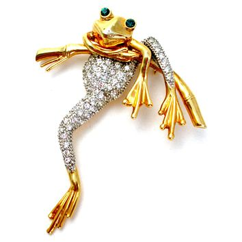 Frog Brooch Pin with Clear Rhinestones