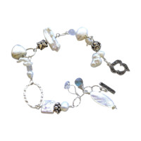 Bridal Pearls bracelet, Marcasite Labradorite charms, Camp Sundance jewelry, Gem Bliss