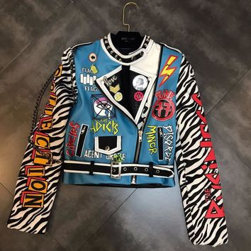 TREND-Setter 2018 Winter Fashion Punk PU Leather Jacket Women Zebra Sleeve With a Chain Rivet Motorcycle Blue Jacket and Coat