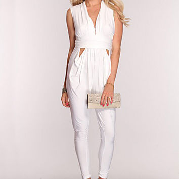 White V-Neck Sleeveless Cut-Out Jumpsuit