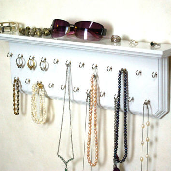 "20"" White Jewelry Display Holder Organizer Wall Shelf Jewelry Organizer Necklace Holder"