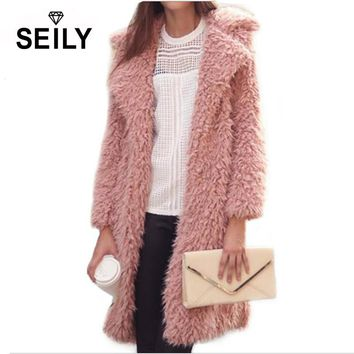 Seily Winter Luxury Pink Long Sleeve Faux Fur Fluffy Jacket Plush Fake Lamb Wool Fur Turn Down Collar Furry Coat Women Cardigan