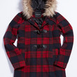 plaid coat with toggles