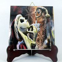The Nightmare before Christmas Ceramic Tile - Handmade from Italy - High Quality Jack Skellington Sally Tim Burton  mod. 110