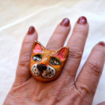 OOAK Wearable Art Ring Polymer Clay Cat Ring by RenaissanceDays
