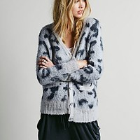 Free People Womens Leopard Cardigan