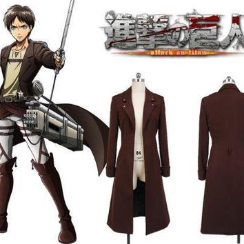 Cool Attack on Titan  no  Eren Jaeger Rivaille Cosplay Costume Long Coat Jacket Cape AT_90_11