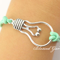 bracelet,mint bracelet, infinity,lamp bracelet,green light,lamp bulb,friendship gift,bridesmaid bracelet,blessed garden