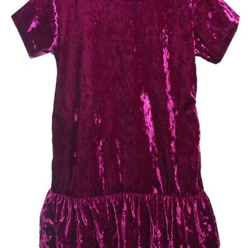 Girls Purple Velvet Hoodie Dress w. Pockets 2-12 & Plus 14x-18x
