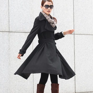 Black Coat Big Sweep Women Wool Winter Coat Long Jacket Tunic / Fast Shipping - NC222