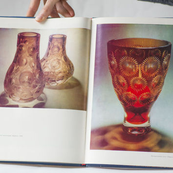 Glass art book in Russian, glass art reproductions, colored glass E. Rogov art book, collectible glass samples 60s-80s book vases drink sets