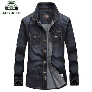 2016 Eur Style AFS JEEP Mcowboy Style Autumn Men's Casual Brand Jean Shirt Man High Quality 100% Cotton Long Sleeve Denim Shirts