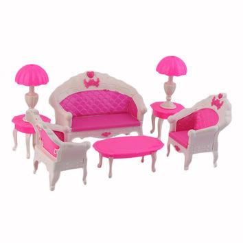 7Pcs Cute Cartoon Princess Kids Toys Dreamhouse Doll vintage Sofa Chair Couch Desk Lamp Furniture Set Disassembled Hot Selling