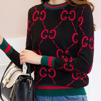 GUCCI Winter Fashionable Women Leisure GG Letter Long Sleeve Round Collar Knit Sweater Top Sweatshirt Black