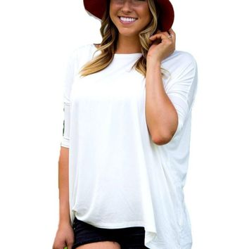 Authentic Piko 3/4 Sleeve Top, Off White