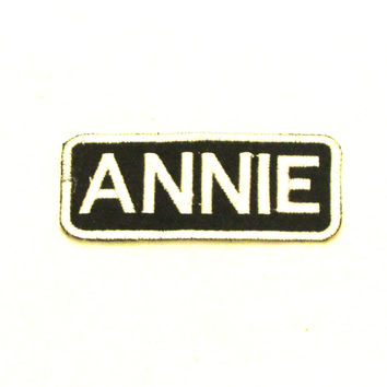 ANNIE White on Black Iron on Name Badge Patch for Biker Vest NB272