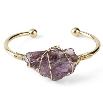 Natural Stone Crystal Cuff Bangle