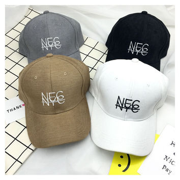 Hat spring and summer new embroidery letters baseball cap simple outdoor sun hat