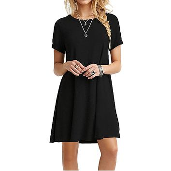 Sexy A-Line Solid Black Summer Dress