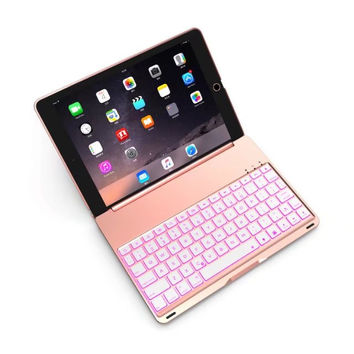 New for 2017  7 Colors Backlit Light Wireless Bluetooth Keyboard Case Cover For iPad 9.7 A1822 A1823 Aluminum shell+ABS keyboard