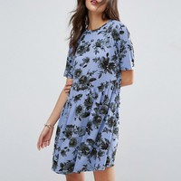 ASOS Asymmetric Smock Dress In Floral Print at asos.com
