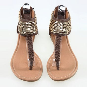 Paillette Braided Flat Sandals