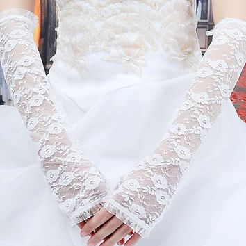 Delicate flower lace gloves Woman Lace Bride ceremony Lady Soft Glove Breathable long Gloves Fingerless Mittens Sleeves