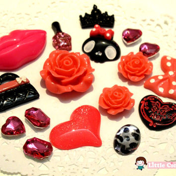 Red Pink Black Fashion DIY Kit - Kiss Lip Cute Skull Ribbon Bow Rose Heart 3D Alloy Deco Kit Flatback DIY cell phone case Cabochon Decoden