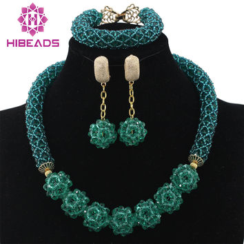 Glamorous Teal Green Wedding African Beads Jewelry Set Chunky Ne 3d7a32a91