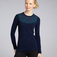 C3 Collection navy cashmere peacock crewneck sweater   BLUEFLY up to 70 off designer brands