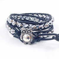 Beaded Leather Wrap Bracelet, Beaded Owl Wrap Bracelet, Owl Wrap Bracelet, Double Wrap Bracelet,  Beaded Wrap Bracelet, Black Wrap Bracelet