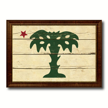 South Carolina Palmetto Guard Military Flag Vintage Canvas Print with Brown Picture Frame Gifts Ideas Home Decor Wall Art Decoration
